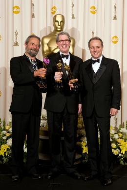 La Vengeance dans la Peau Scott Millan, David Panker, Kirk Francis - Cérémonie des Oscars 2008, Photocall des lauréats photo 4 sur 133