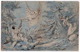 photo 2/34 - [Pierrot, Colombine, la Lune] Dessin sur papier. Encre et crayons de couleur, 19,4 x 29,8 cm, c. 1920. Georges M�li�s, c. 1920 - Georges M�li�s - © ADAGP, Paris 2008.