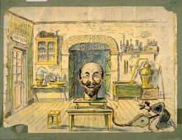 photo 6/34 - [Un laboratoire au milieu duquel se trouve une énorme tête barbue posée - Georges Méliès - © ADAGP, Paris 2008.