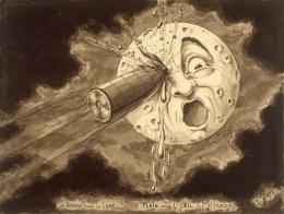 photo 1/34 - « Le Voyage dans la Lune. En plein dans l'œil !! (9ème tableau) ». - Georges Méliès - © ADAGP, Paris 2008.