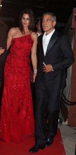 photo 63/69 - Cindy Crawford et George Clooney - Diner Les Marches du pouvoir, 31 aout 2011, Venise - Les Marches du pouvoir - © Isabelle Vautier pour Commeaucinema.com