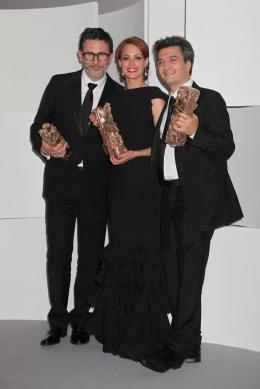 37e C�r�monie Des C�sar 2012 Michel Hazanavicius, B�r�nice B�jo et Thomas Langman - Photocall des laur�ats - C�sar 2012 photo 2 sur 162